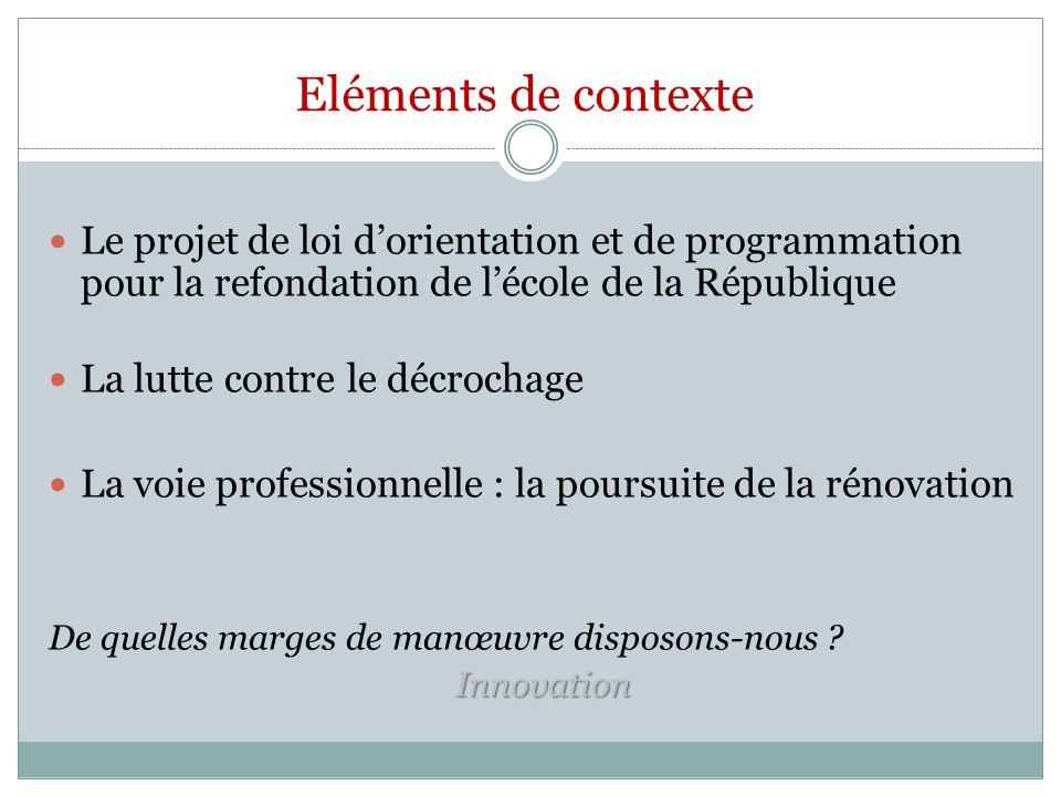 Eléments de contexte Le projet de loi d'orientation et de programmation pour la refondation de l'école de la République.