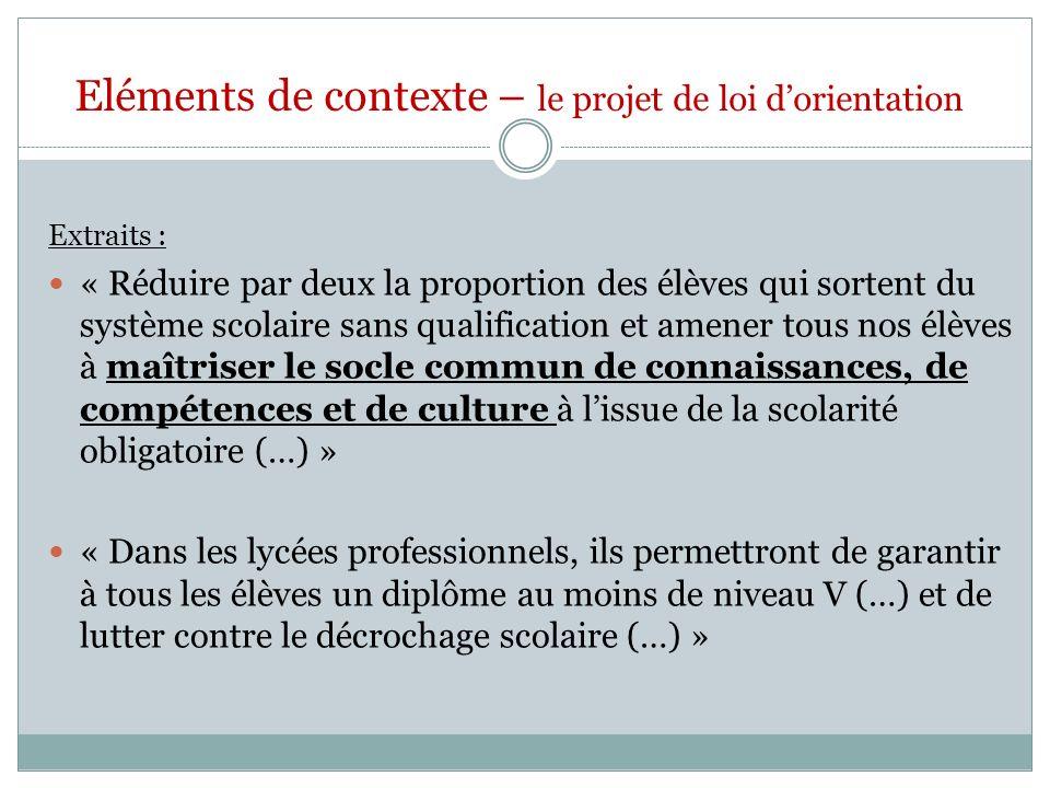 Eléments de contexte – le projet de loi d'orientation