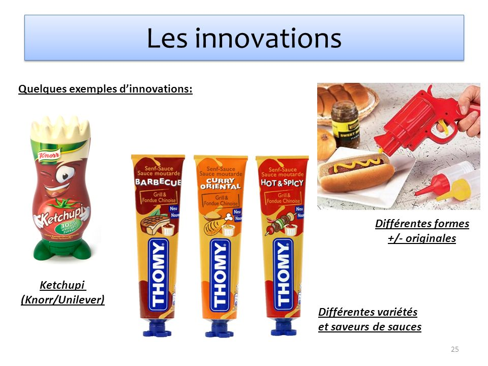 Les innovations Quelques exemples d'innovations: Différentes formes