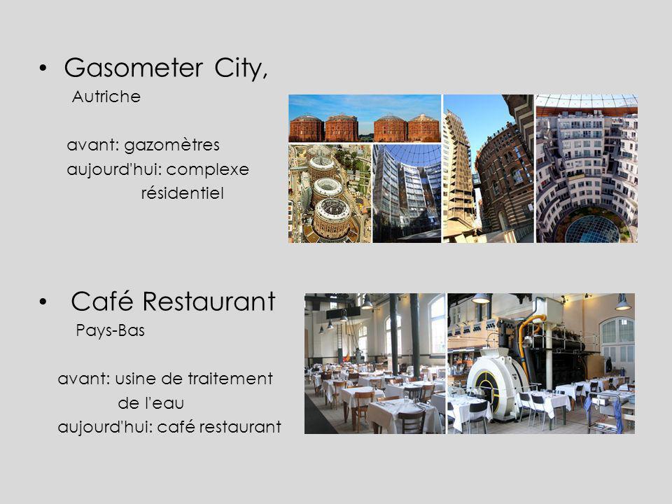 Gasometer City, Café Restaurant Autriche avant: gazomètres