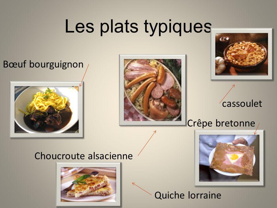 Les plats typiques Bœuf bourguignon cassoulet Crêpe bretonne