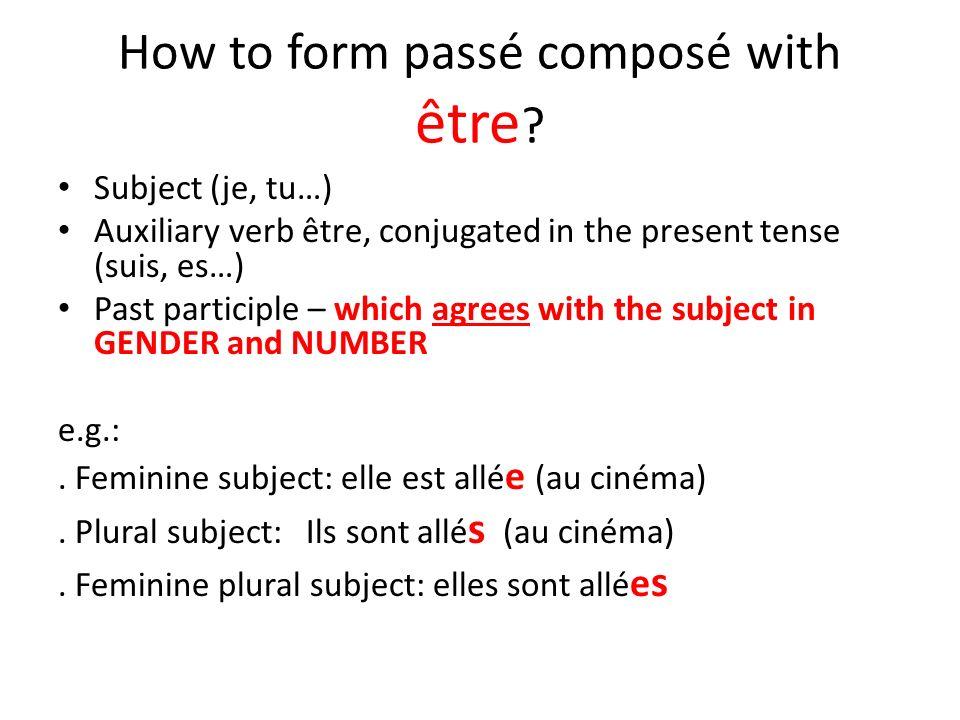 How to form passé composé with être