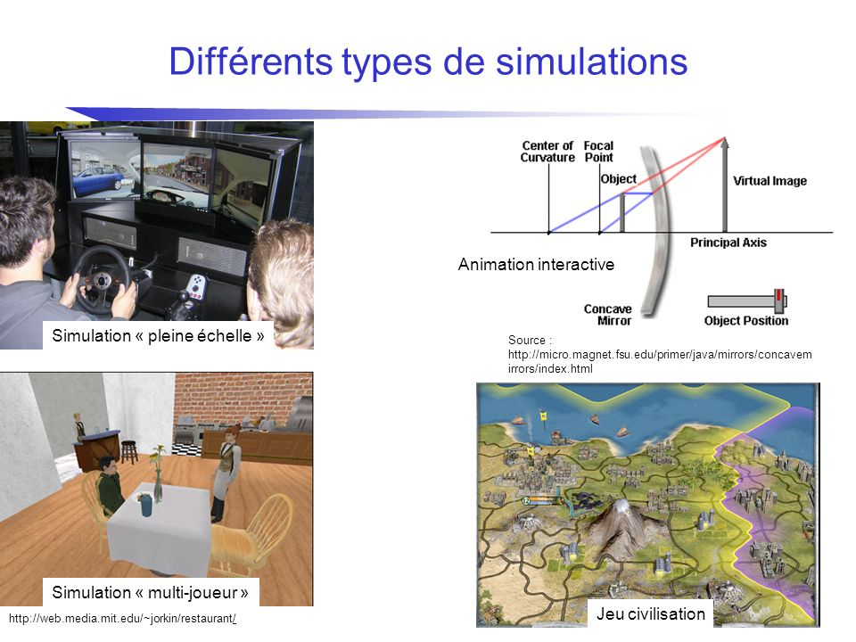 Différents types de simulations