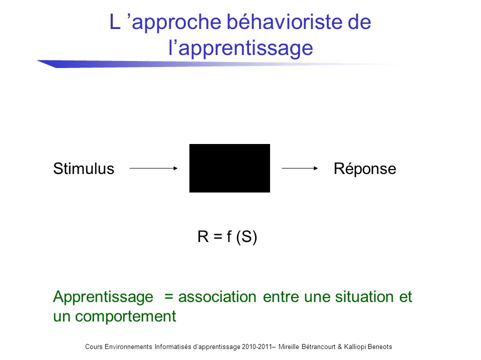 L 'approche béhavioriste de l'apprentissage