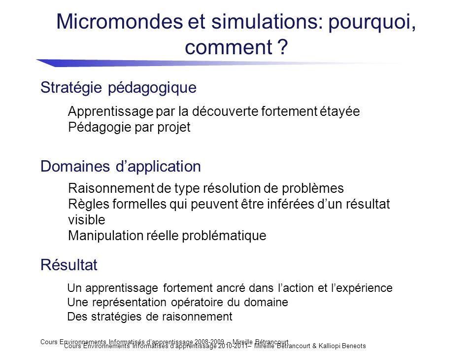 Micromondes et simulations: pourquoi, comment