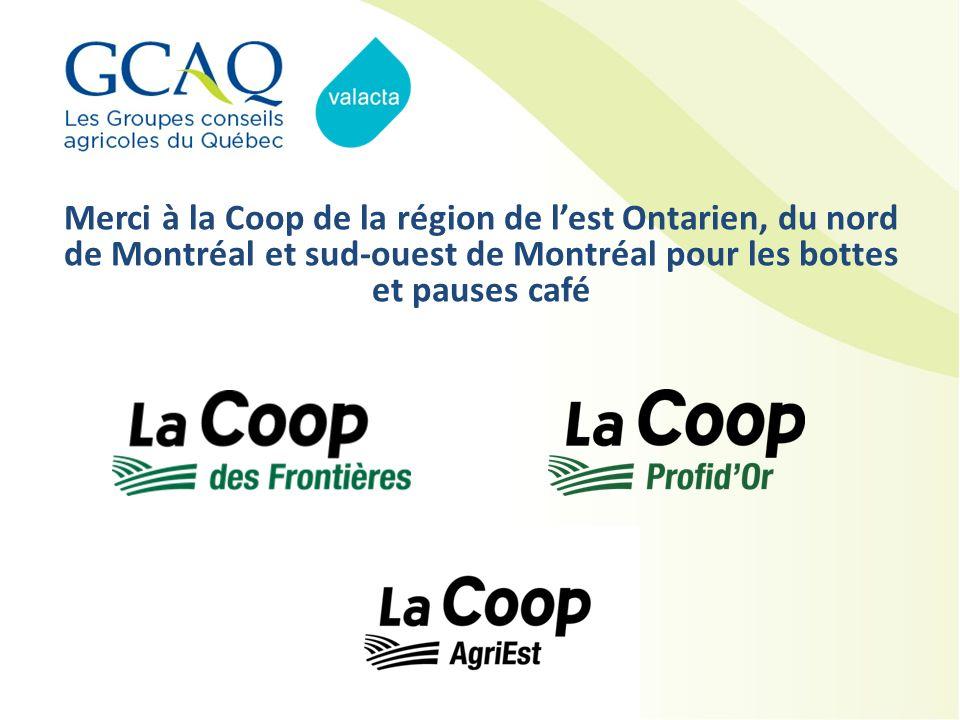 Merci à la Coop de la région de l'est Ontarien, du nord de Montréal et sud-ouest de Montréal pour les bottes et pauses café