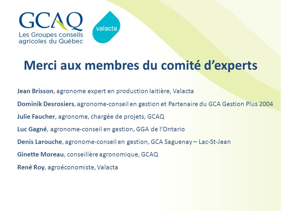 Merci aux membres du comité d'experts