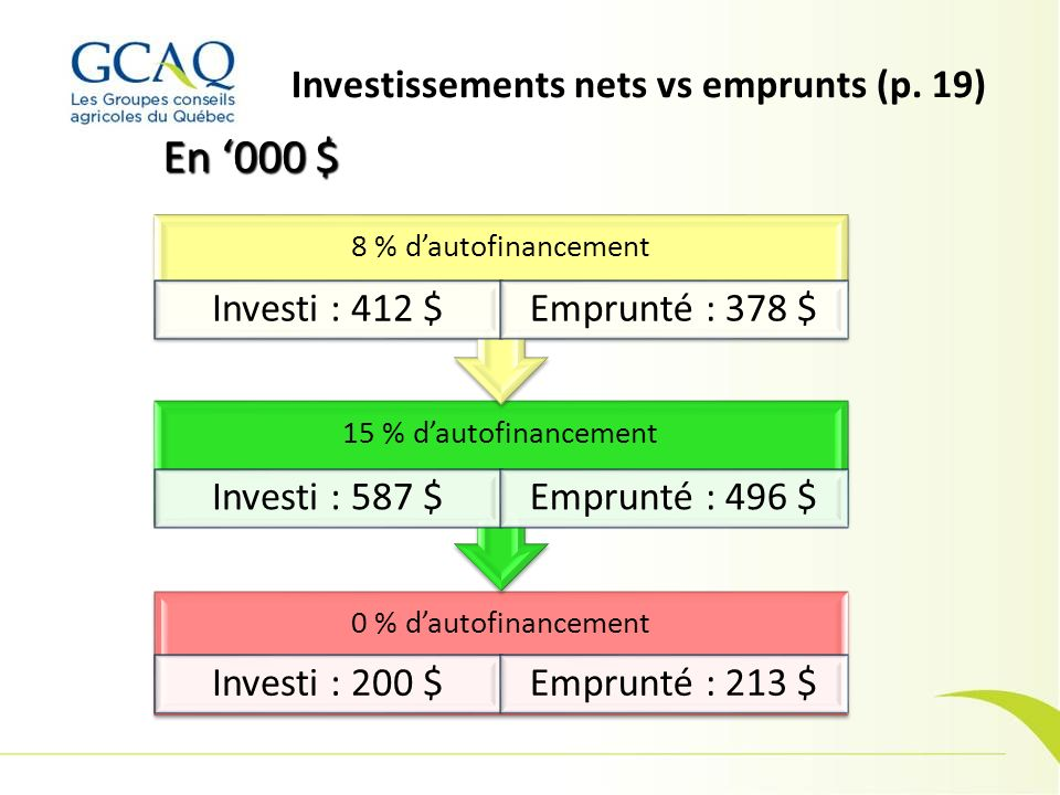Investissements nets vs emprunts (p. 19)
