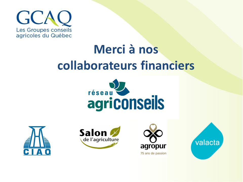 Merci à nos collaborateurs financiers