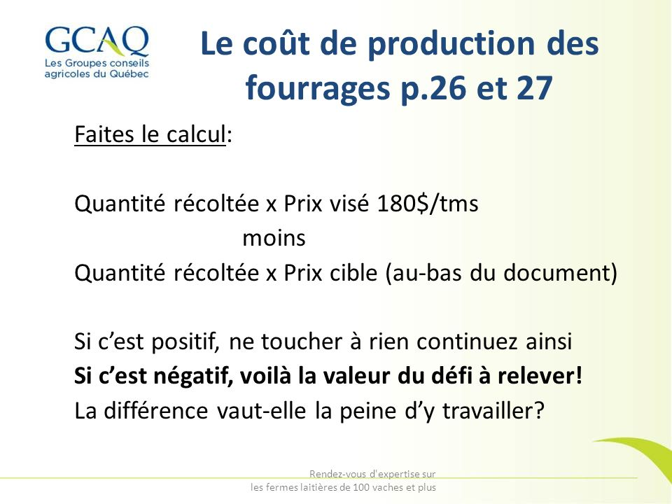 Le coût de production des fourrages p.26 et 27