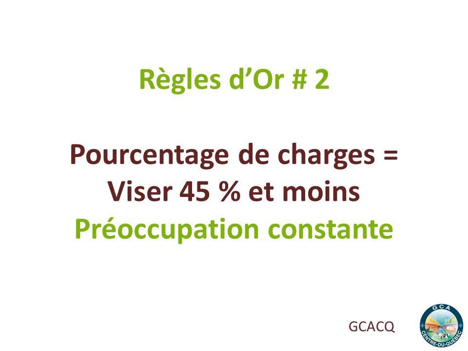 Pourcentage de charges = Préoccupation constante