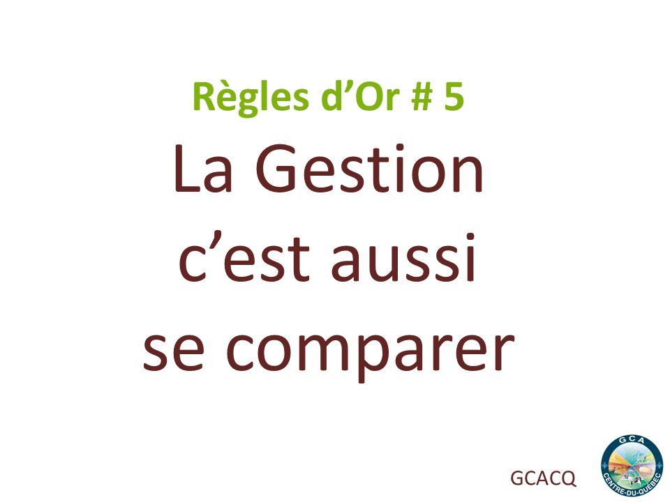 Règles d'Or # 5 La Gestion c'est aussi se comparer GCACQ