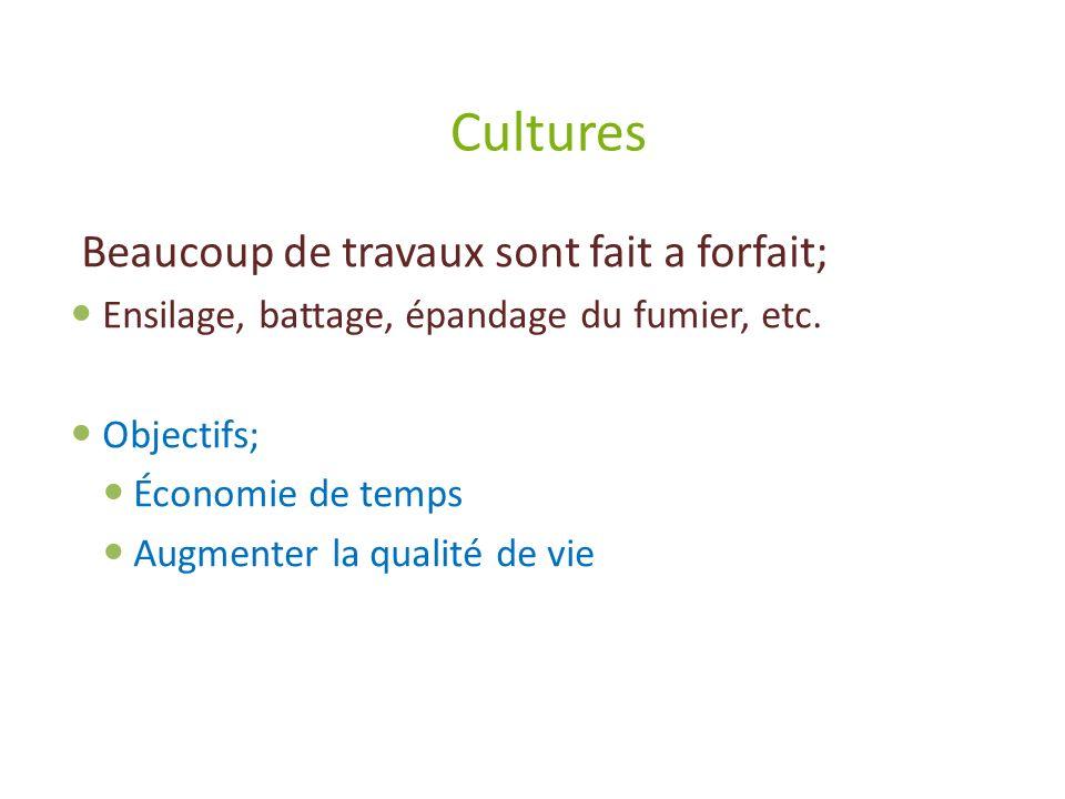 Cultures Beaucoup de travaux sont fait a forfait;