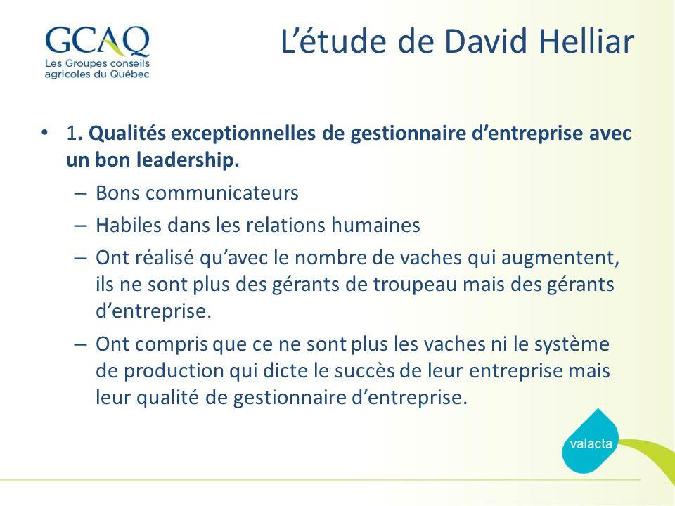 L'étude de David Helliar