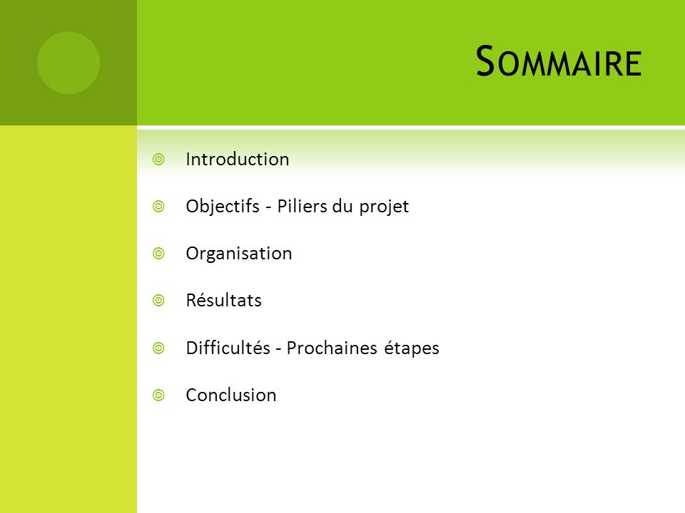Sommaire Introduction Objectifs - Piliers du projet Organisation