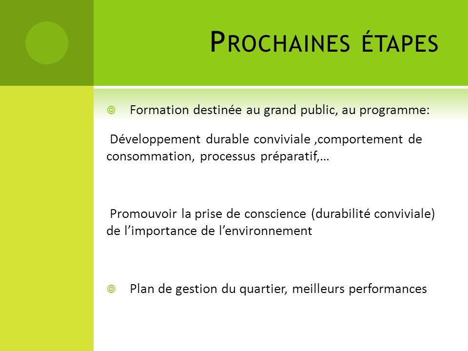 Prochaines étapes Formation destinée au grand public, au programme: