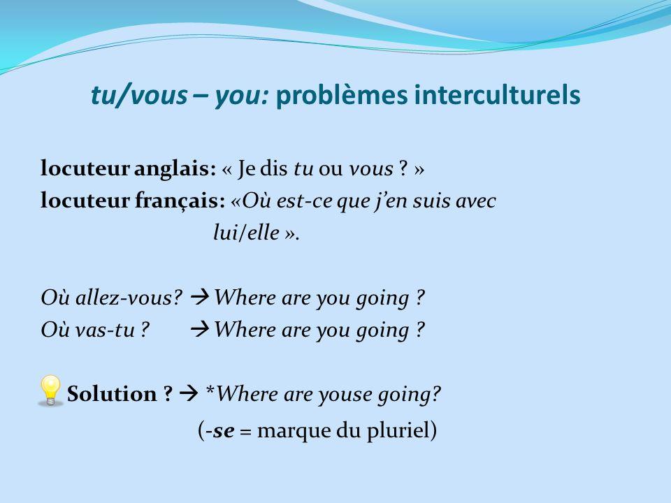 tu/vous – you: problèmes interculturels