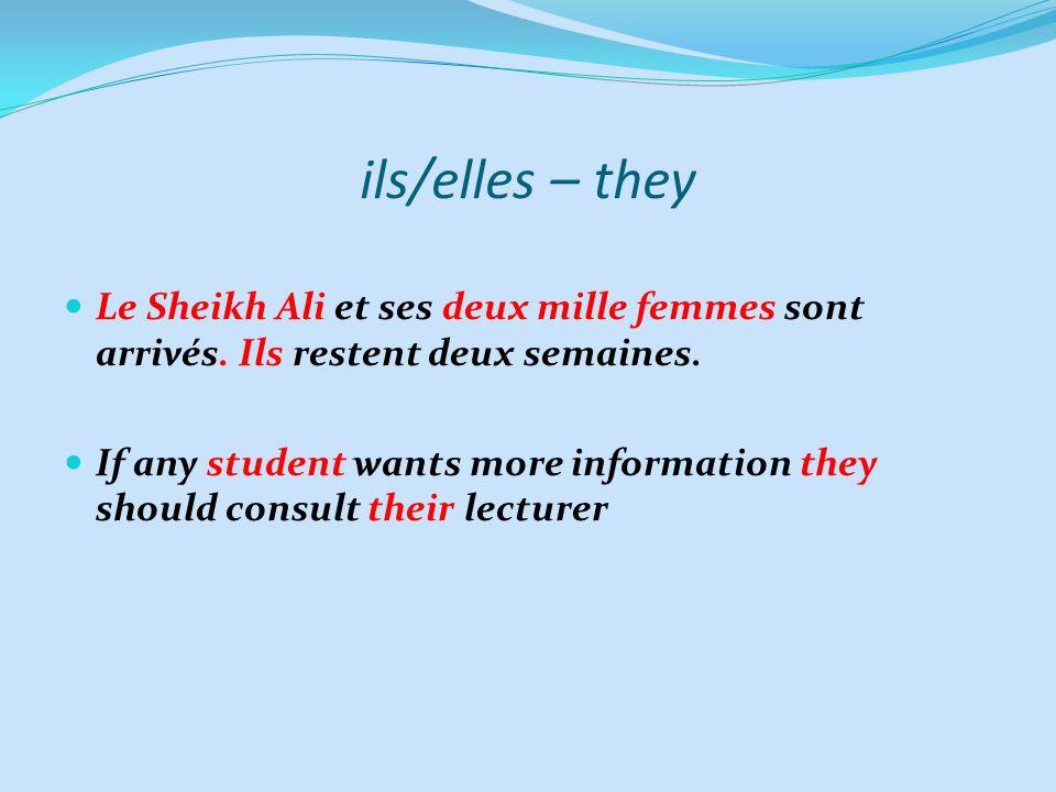 ils/elles – they Le Sheikh Ali et ses deux mille femmes sont arrivés. Ils restent deux semaines.
