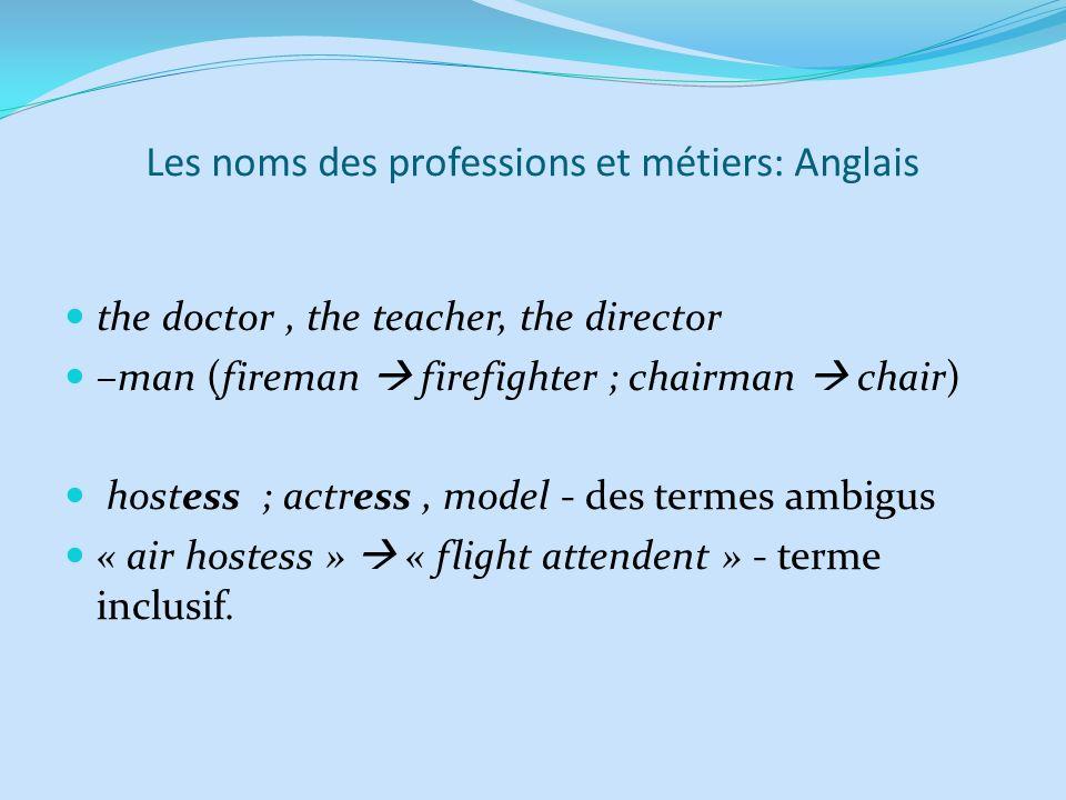 Les noms des professions et métiers: Anglais