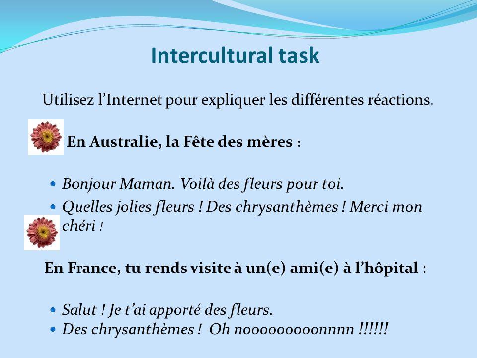 Intercultural task Bonjour Maman. Voilà des fleurs pour toi.