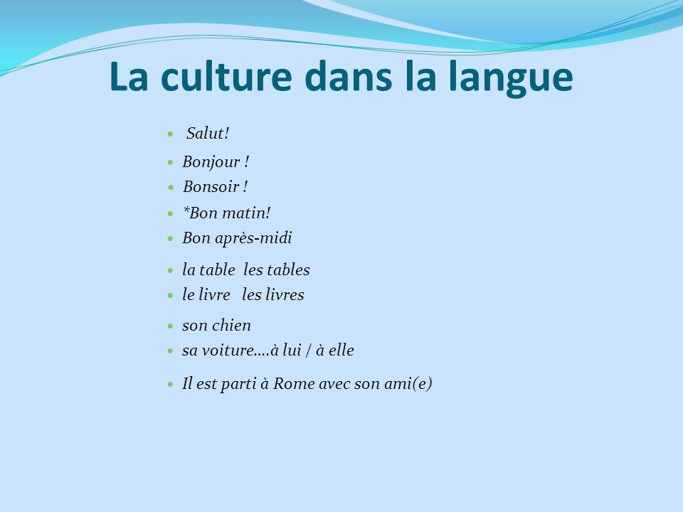 La culture dans la langue