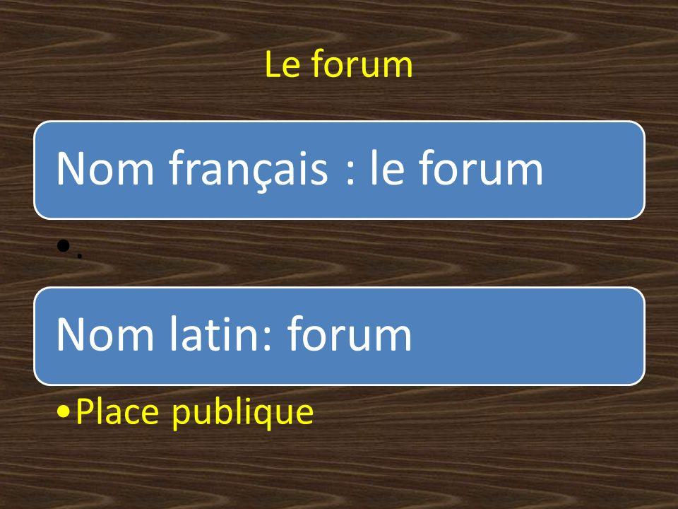 Le forum Nom français : le forum . Nom latin: forum Place publique