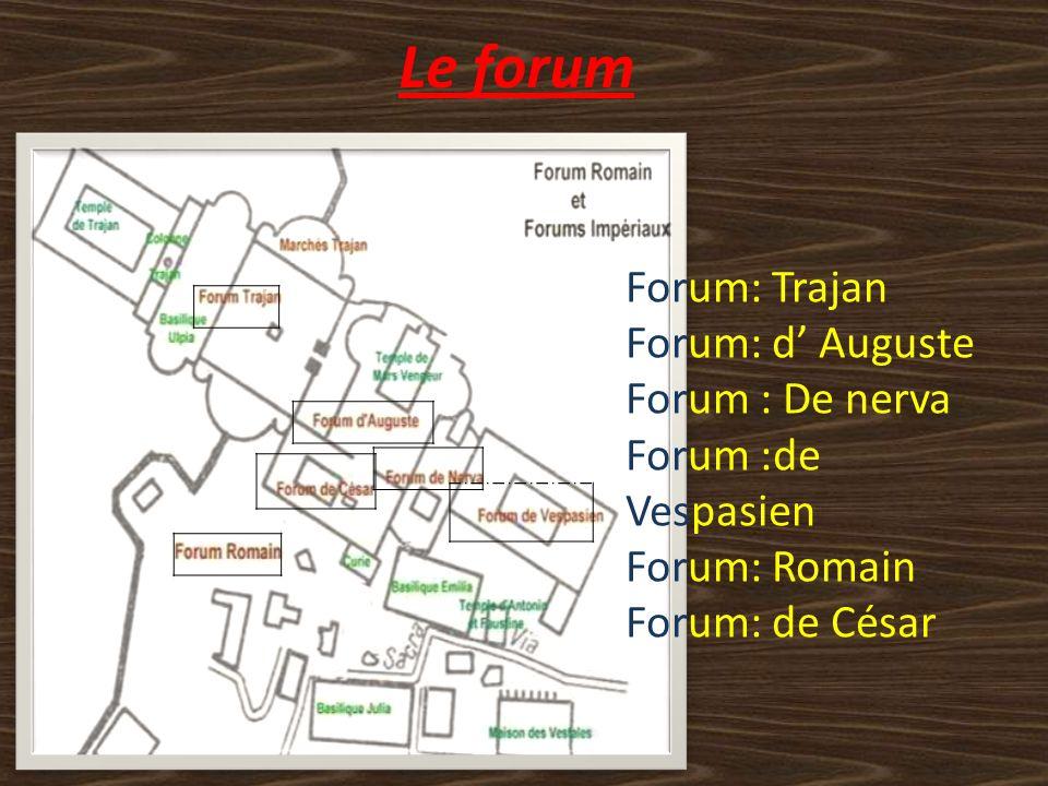 Le forum Forum: Trajan Forum: d' Auguste Forum : De nerva
