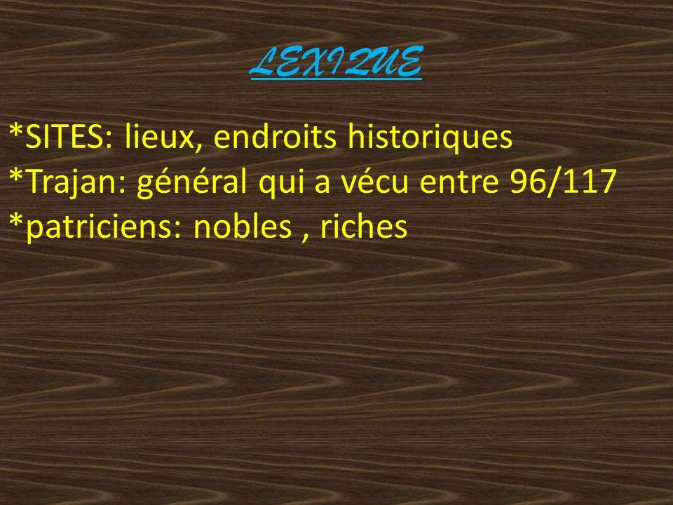LEXIQUE *SITES: lieux, endroits historiques