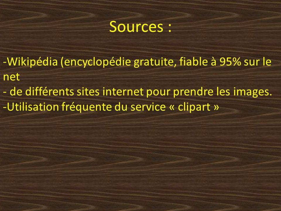 Sources : Wikipédia (encyclopédie gratuite, fiable à 95% sur le net