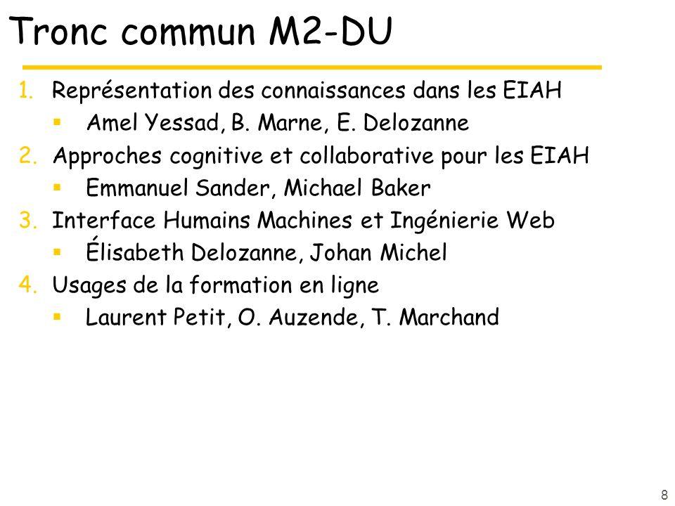 Tronc commun M2-DU Représentation des connaissances dans les EIAH