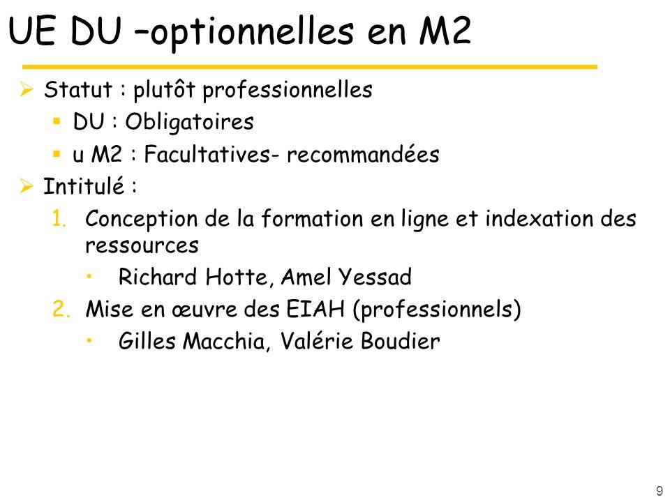 UE DU –optionnelles en M2