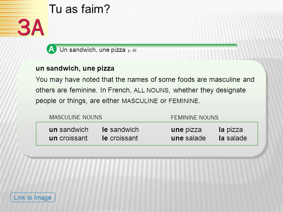 3A Tu as faim A un sandwich, une pizza