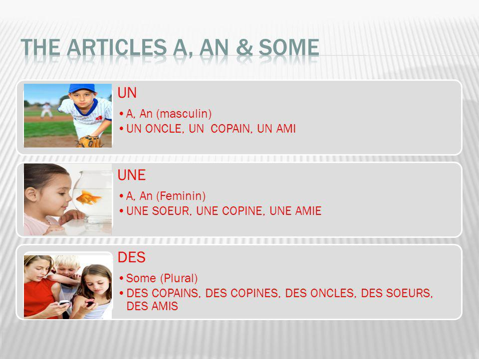 The articles A, AN & SOME UN UNE DES A, An (masculin)