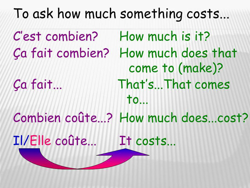 To ask how much something costs...