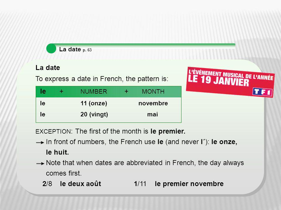 To express a date in French, the pattern is: