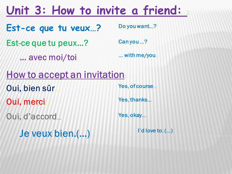 Unit 3: How to invite a friend: :