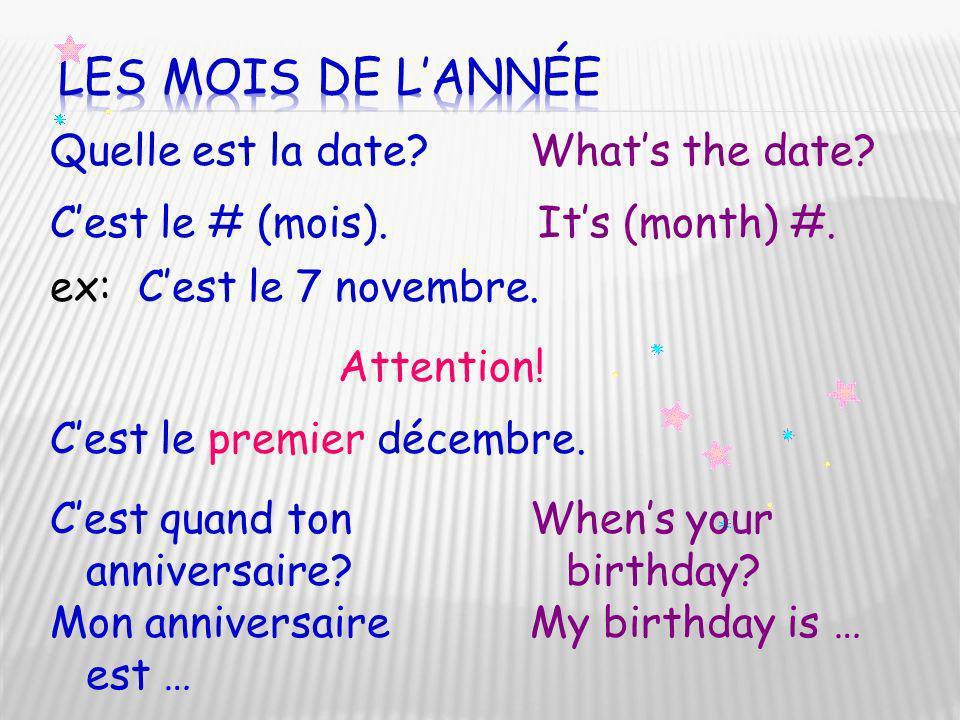 Les mois de l'année Quelle est la date What's the date