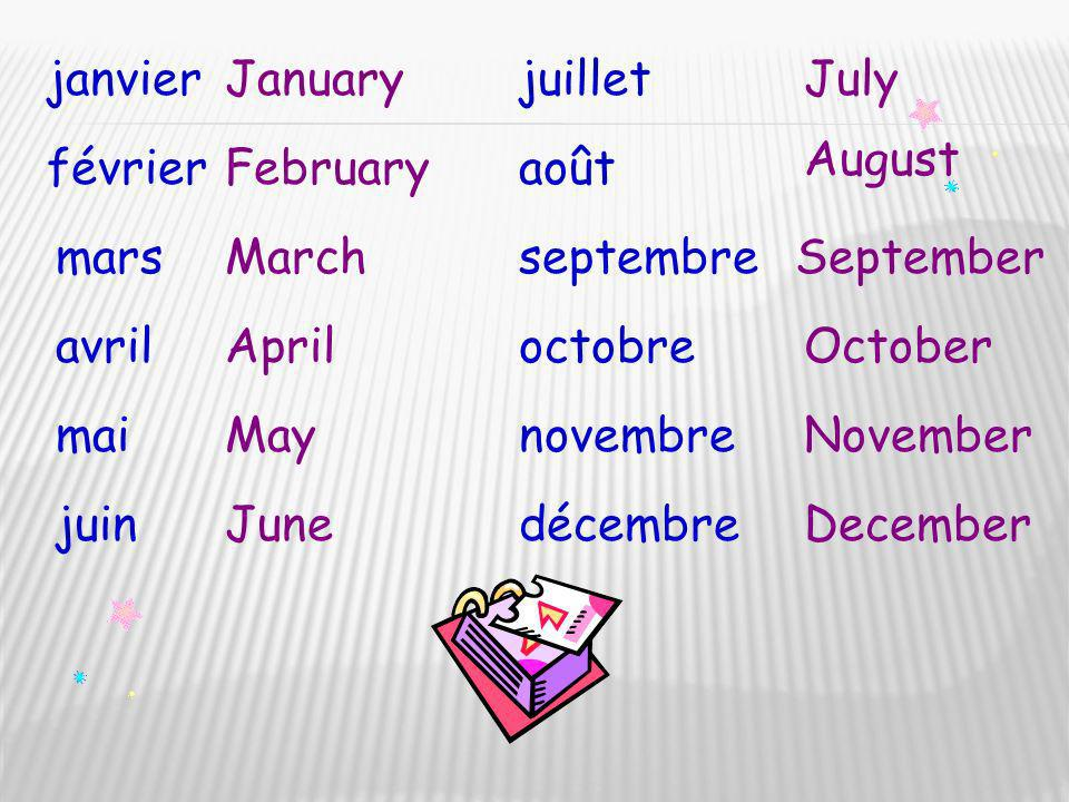 janvier January. juillet. July. August. février. February. août. mars. March. septembre. September.