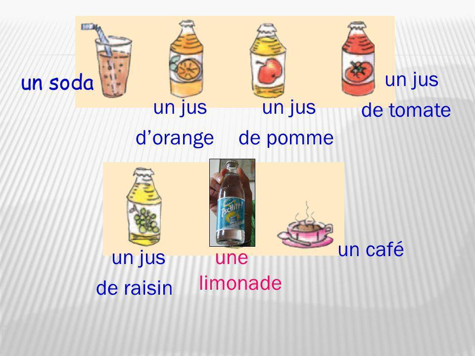 un jus de tomate un soda un jus d'orange un jus de pomme un café un jus de raisin une limonade