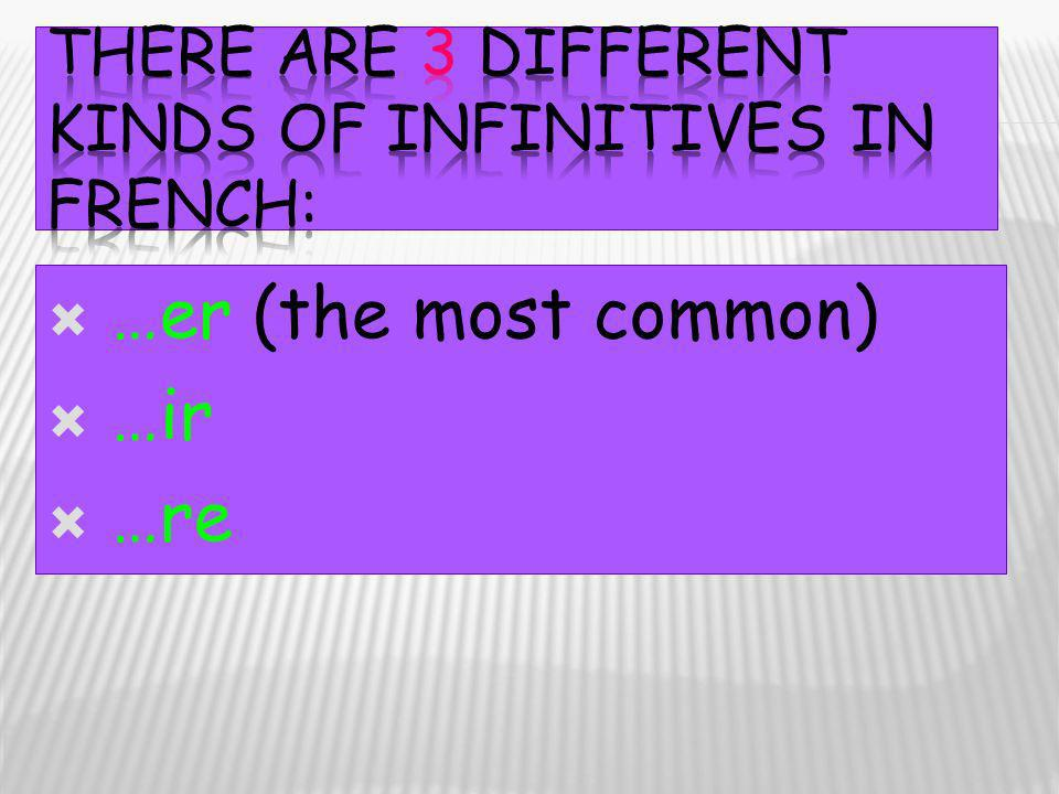 There are 3 different kinds of infinitives in French: