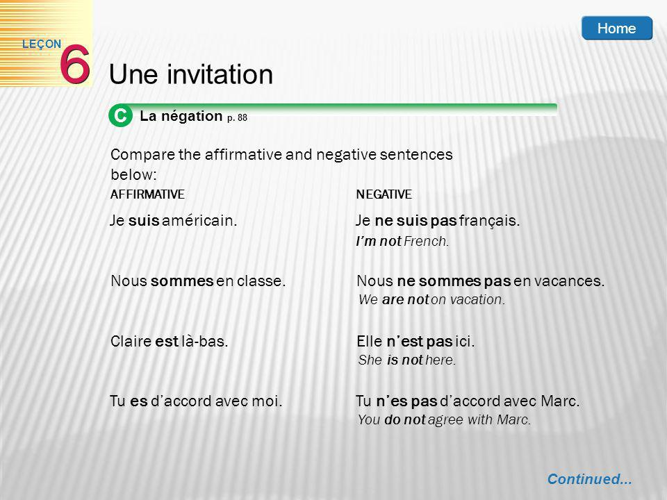 Home 6. LEÇON. Une invitation. C. La négation p. 88. Compare the affirmative and negative sentences below: