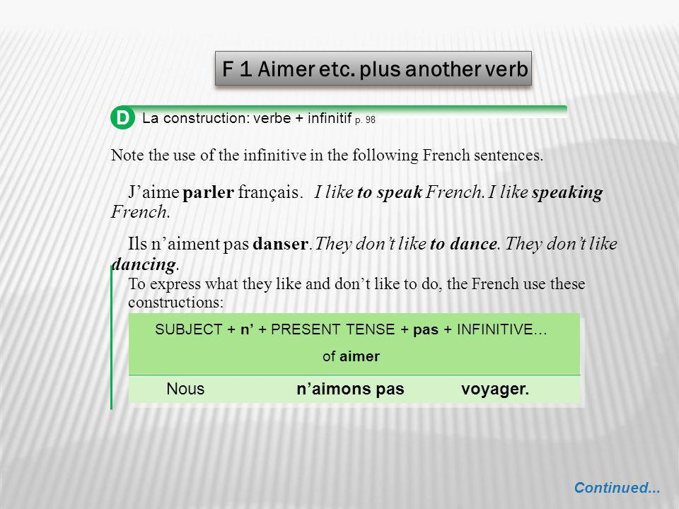 SUBJECT + n' + PRESENT TENSE + pas + INFINITIVE…