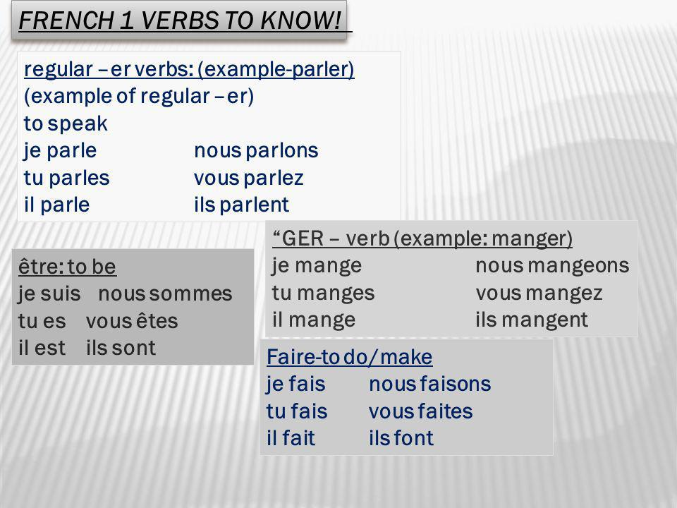 FRENCH 1 VERBS TO KNOW! regular –er verbs: (example-parler)
