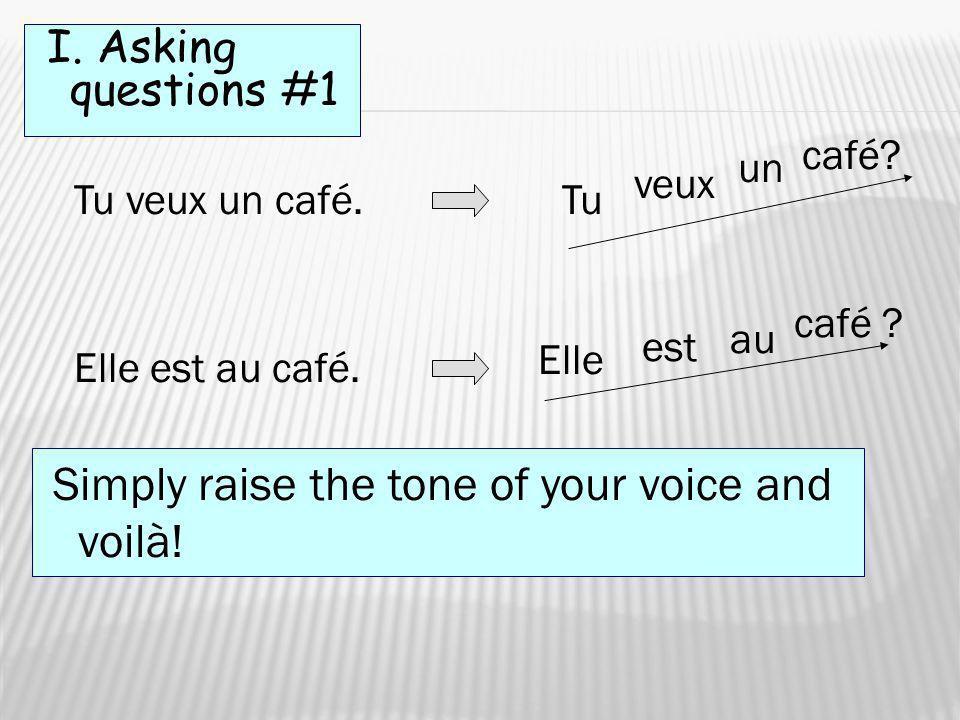 I. Asking questions #1 café un veux Tu veux un café. Tu café au est