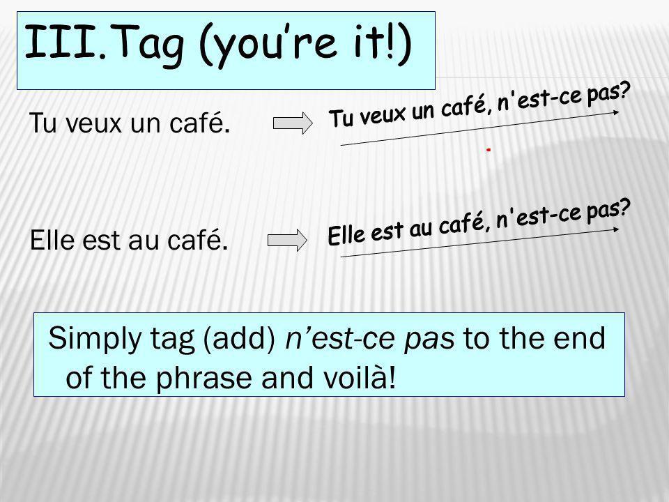 III.Tag (you're it!) Tu veux un café, n est-ce pas Tu veux un café. Elle est au café, n est-ce pas