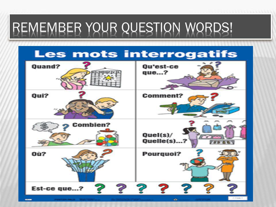 Remember your question words!