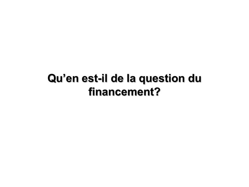 Qu'en est-il de la question du financement