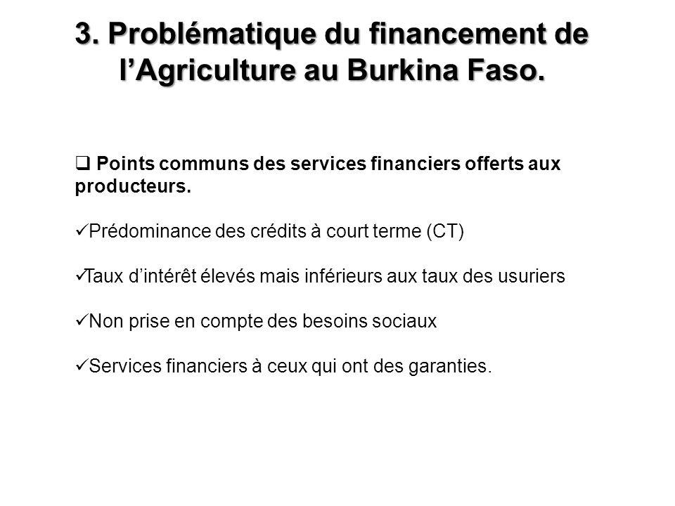 3. Problématique du financement de l'Agriculture au Burkina Faso.