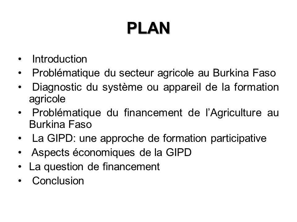 PLAN Introduction Problématique du secteur agricole au Burkina Faso