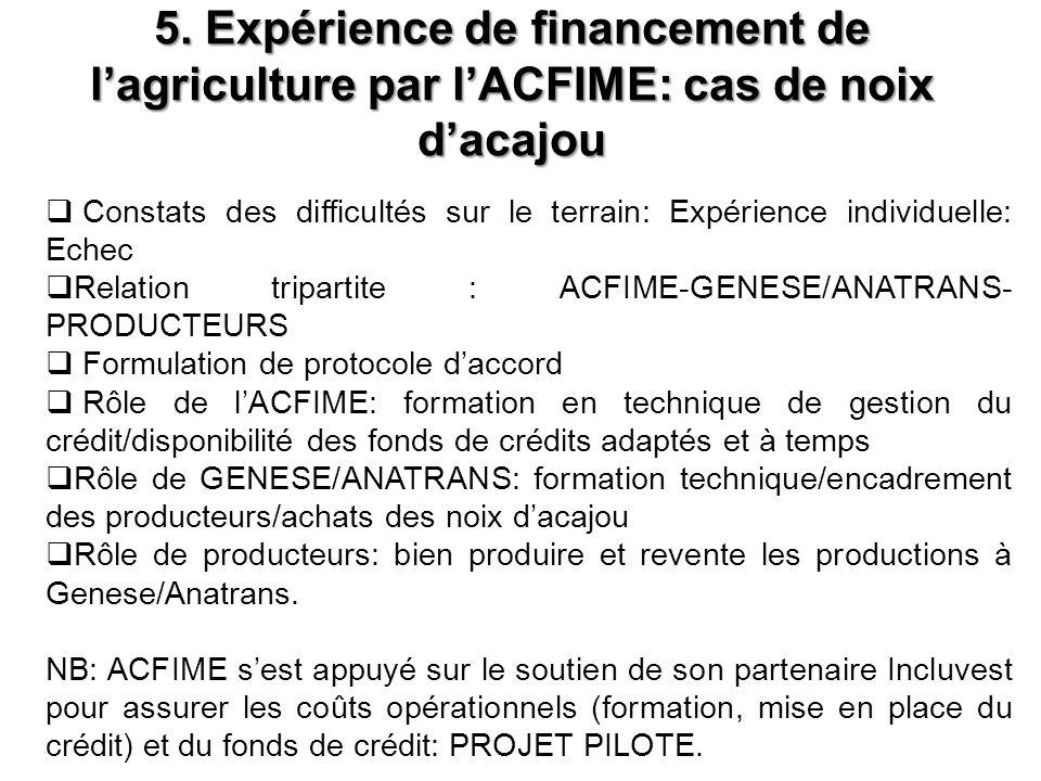 5. Expérience de financement de l'agriculture par l'ACFIME: cas de noix d'acajou